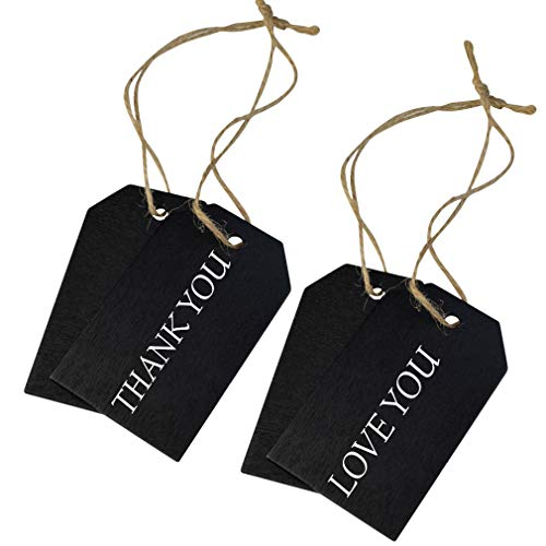 48 Pcs Chalkboard Tags, Topbuti Hanging Wooden Mini Chalkboard Signs Decorative Labels, Erasable Hanging Chalkboard Tags with Twine, Name Tags Price Tags Message Tags for DIY Craft Wedding Party Decor Photo #3