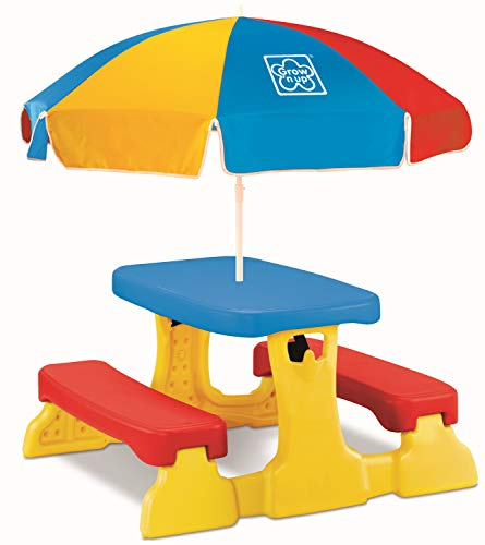 Grow'n Up Qwikfold Picnic Table with Umbrella, Red, Blue, Yellow (3016-08)