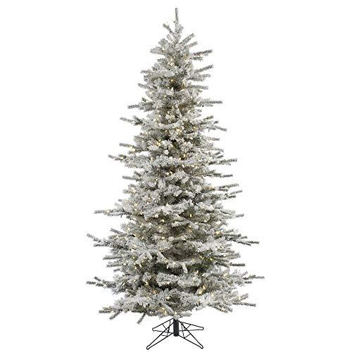 Vickerman 75' Flocked Slim Sierra Artificial Christmas Tree with 700 Warm White LED Lights