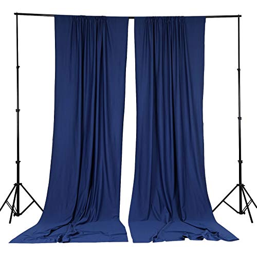BalsaCircle 10 ft x 10 ft Navy Blue Polyester Photography Backdrop Drapes Curtains Panels - Wedding Decorations Home Party Reception Supplies