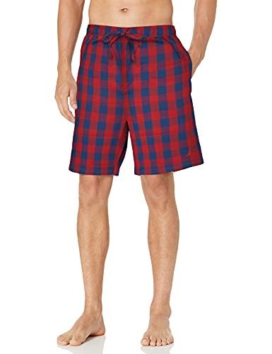 Nautica Men's Soft Woven 100% Cotton Elastic Waistband Sleep Pajama Short, Red, Medium