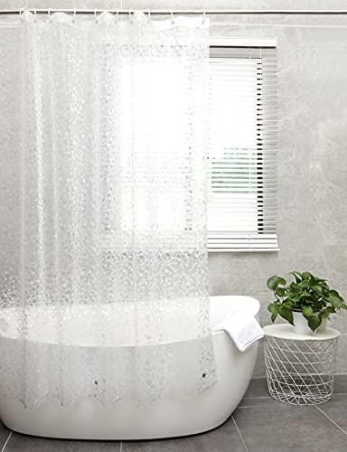 Aitsite Duschvorhang mit Kopfsteinpflaster Muster, wasserdichte PEVA Badvorhänge mit 12 Haken, 72