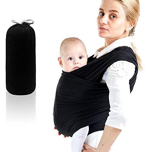 SaponinTree Tragetuch Baby, Hochwertiges Babybauchtrage Elastisches Tragetuch für Neugeborene und Kleinkinder bis 15Kg, 100% Weiche Bio-Baumwolle für Männer und Frauen (Schwarz)
