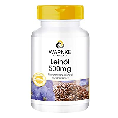 WARNKE Health Products Linseed Oil Cold Pressed, 58Percent Alpha Linolenic Acid 500mg (Omega-3Fatty Acid)–250Softgels, Pack of 1x 177g) from Warnke Gesundheitsprodukte