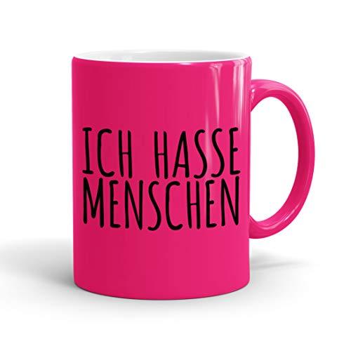True Statements Lustige Tasse Ich hasse Menschen - Neon Kaffee-Tasse mit Spruch - Geschenk für Mitarbeiter - Chef - Büro - Arbeit, neon pink