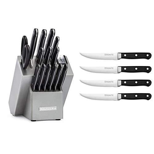KitchenAid KKFTR16SL 16 Piece Classic Forged Series Triple Rivet Cutlery Set, Silver & Classic Forged 4-Piece 4.5-In. Triple Rivet Steak Knives KKFTR4OB, Onyx Black