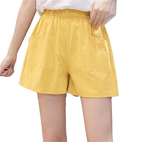 N\P Verano Mujeres Pantalones Cortos Deportivos Dos Bolsillos Cintura Alta Color Sólido Mujeres