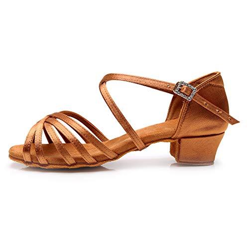 YKXLM Niñas y Mujeres Marrón Zapatos de Baile Latino Zapatillas de Entrenamiento Modernas Salsa Performance Ballroom Modern,Modelo ES-TL-LP1202-ZSZK, 34 EU / 21.5 CM