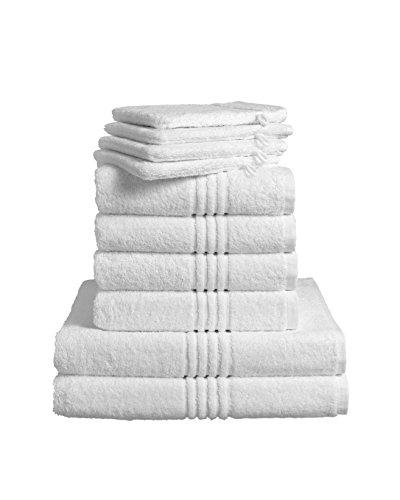 De Witte Lietaer 173936Luxury Hotel–Juegos de Toallas para baño de algodón (4Guantes + 4Toallas Medianas + 2Toallas de Ducha), Color Blanco