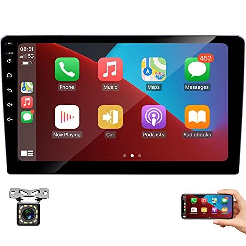 Estéreo de coche doble Din iOS CarPlay y Android Auto, monitor de pantalla táctil HD de 9 '' Reproductor multimedia universal para coche con Bluetooth/Mirror Link/Radio FM con cámara de visión trasera