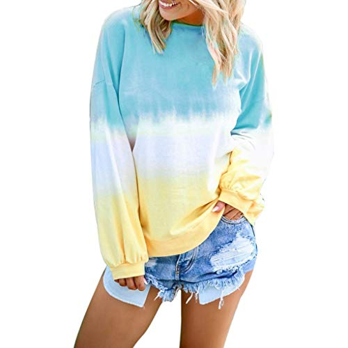 Womens Long Sleeve Sweatshirt Casual Winter O-Neck Gradient Contrast Color Blouse Plus Size Tie Dyeing Pullover - Blue - Medium