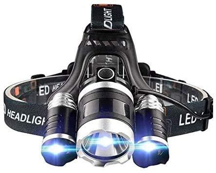 XUERUIGANG Faro, linterna de la lámpara de cabeza recargable de 3 LED, 3 modos con 2 baterías, lámpara...