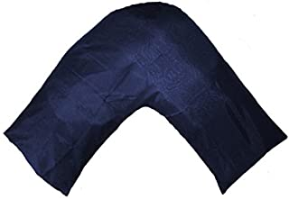 Gyulin Silky Soft Satin V Shaped/Tri/Boomerang Standard Pillow Case Cushion Cover Multiple Colors (Navy Blue)