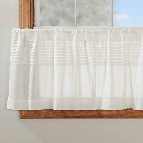 """Kathryn Tier Curtains, Set of 2, 24"""" Long, Ruffled Curtains in a Linen-Look Soft White Cotton Semi-Sheer Fabric, Farmhouse, Cottage, Country Style Sheer Kitchen Café Curtains"""