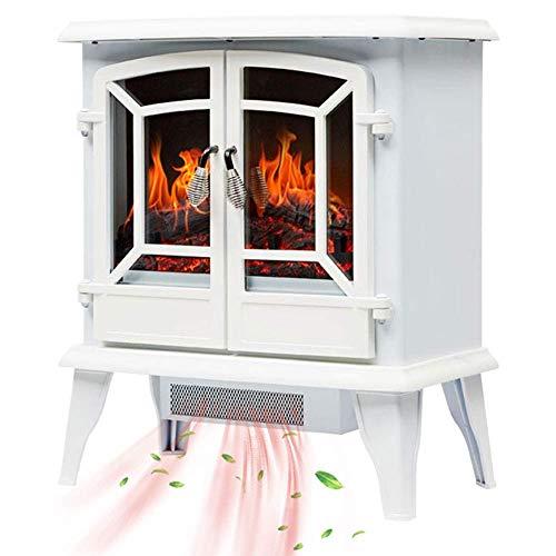 WYZXR Chimenea eléctrica portátil de 2 Puertas, Chimenea eléctrica con LED Realista, Efecto de Llama de Fuego de Madera, termostato Ajustable, protección contra sobrecalentamiento, Blanco