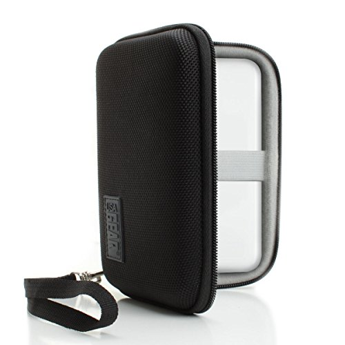 USA Gear Hard Shell Travel Case by with Mesh Accessory Pouch, Interior Stabilization Band and Detachable Wrist Strap - Works with HP Sprocket Mobile Printer
