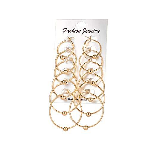Großer Kreis-Band-Ohrring-Kugel-hängende Ohrringe Set für Frauen Runde Boucle Art und Weise...