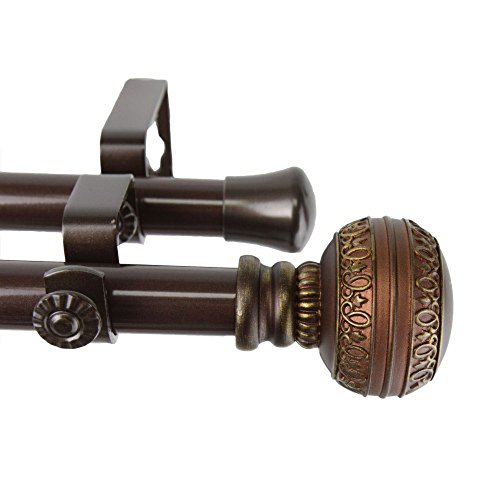 Rod Desyne Ornament Double Window Curtain Rod Set, 48 to 84-Inch, Cocoa