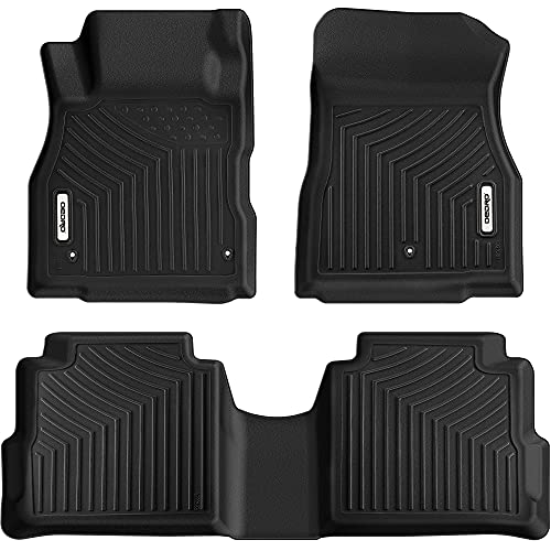 OEDRO Floor Mats Compatible with 2018-2021 Nissan Kicks, Custom Fit Front & 2nd Seat Black TPE All-Weather Guard 2 Row Floor Liner Set
