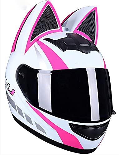 WERTY Cascos de Motocicletas de Las Orejas de la Cara Llena de Las Mujeres, Voltear Adultos visores Motocross Casco Motorbike Cascar Casco Modular Diseño Ligero Certificado,B,Large
