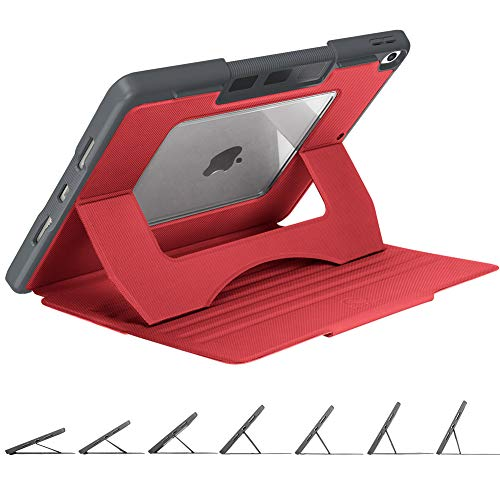 Henpone 2019 iPad Air 3 10.5/iPad Pro 10.5 inch Full-Body Rugged Protective Case,Multi-Angle Magnetic Stand + Heavy Duty Shockproof But Slim Cover Case + Pencil Holder + Auto Sleep/Wake Cover, Red