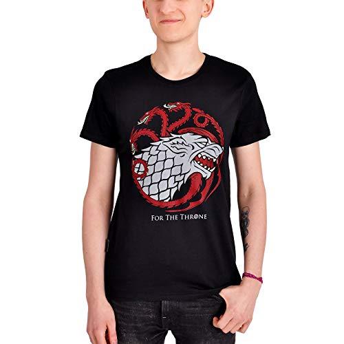 Game Of Thrones Elbenwald Stark & Targaryen Wappen for The Throne - Camiseta para Hombre, Color Negro Negro XXL