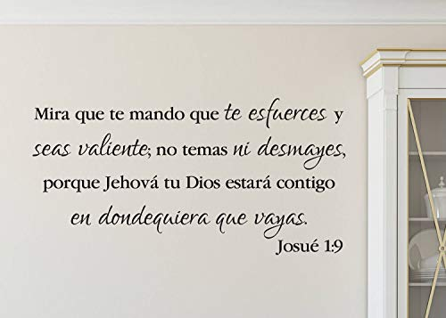 "Josué 1:9 Mira Que Te Mando, Joshua Be Strong and Courageous, Spanish, Church, Bible Verse, Living Room, Wall Decal, Vinyl Decal 12"" X 24"""