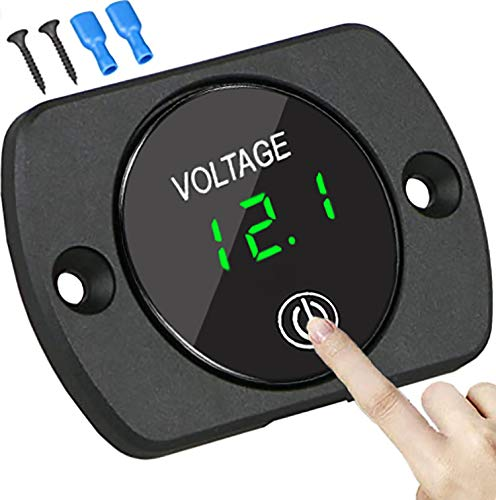 Voltmeter Gauge 12V,2020 New Battery Voltage Meter with Touch Switch,Suitable for Car,Boat,Lawnmower,Truck, ATV,UTV(Green Light)