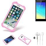 K-S-Trade® Bumper + Kopfhörer Für TP-LINK Neffos Y5S Handyhülle Schutzhülle Silikon Schutz Hülle Cover Case Silikoncase Silikonbumper TPU Softcase Smartphone, Pink (1x)