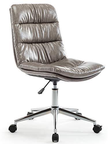 IntimaTe WM Heart Bürostuhl, Bequemer Bürostuhl, Drehstuhl, Arbeitsstuhl ohne Armlehne, höhenverstellbar, Belastbarkeit 112KG (Hellgrau)