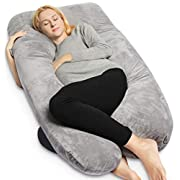 #LightningDeal QUEEN ROSE Pregnancy Pillow -Maternity Body Pillow U Shaped,Support Back/Neck/Head with Velvet Cover