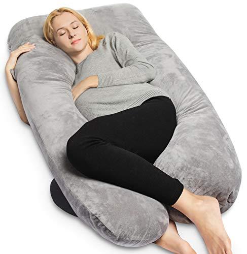 QUEEN ROSE Pregnancy Pillow with Velvet Cover-U-Shape Full Body Maternity Pillow for Back,Gray