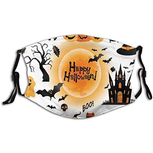Adults Reusable and Breathable Cotton Face ṁɑşḱs, with Pumpkin Halloween Pattern Adjustable Mouth Covering, Indoors and Outdoors, Anti-Haze Dust, Washable Face Bandanas