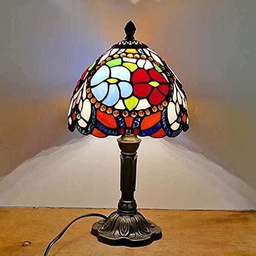 CXSMKP Art Deco Tiffany Estilo lámpara de Mesa de iluminación Pastoral Rosa luz de Escritorio con vidrieras y Base de Resina para Dormitorio, Sala de Estar, Escritorio
