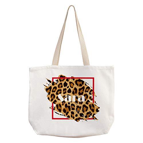 Bolso Animal Print Personalizado con Nombre/Texto. Bolsos Originales. Varios Diseños. 40X33cm. Bolsa Nature Leopardo
