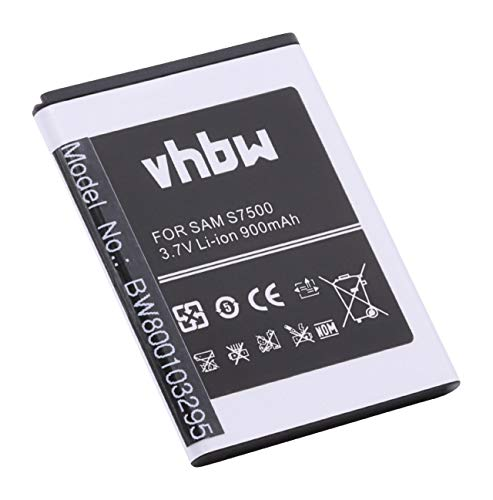 vhbw Li-Ion Akku 900mAh (3.7V) für Handy, Smartphone, Handy Samsung Galaxy Ace Plus, Mini 2, GT-S6500, GT-S7500, JENA wie EB464358VU, EB464358VUBSTD