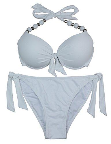 EONAR Damen Seitlich Gebunden Bikini-Sets Abnehmbar Bademode Push-up-Bikinioberteil mit Nackenträger, Weiß, (Größe:40-42)70D/75D/80C/85B