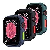 Qianyou [3 Pezzi] Cover Silicone per Apple Watch 42mm Series 3/2/1, TPU Custodia Protettiva con Bottoni Rimovibili Gel AntiGraffio Ultra Sottile Bumper Protettivo per iWatch 42mm (Blu-Nero-Verde)