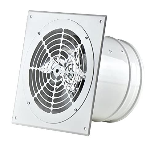Weiß Ø 200mm Rohrlüfter Wand Radiallüfter Ventilator Wandflansch Zu-Abluft, Metall