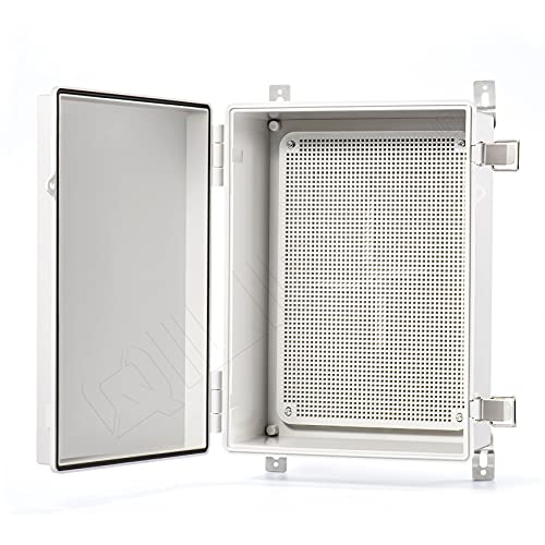QILIPSU Hinged Cover Stainless Steel Latch 370x270x150mm Junction Box with Mounting Plate, ABS Plastic DIY Electrical Project Case IP67 Waterproof Dustproof Enclosure Grey (14.6'x10.6'x5.9')