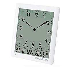 Franklin CL-1 Large Format 10 Atomic Digital-Analog Wall Clock with Day/Date, Temperature and Humidity