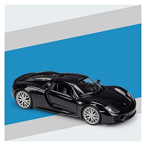 Modellino Auto in pressofusione Modello di Auto di Marca in Scala 1:24 per Porsche 918 Spyder Veicolo in Lega Pressofuso Model Toy Collection Gift (Colore : Nero)
