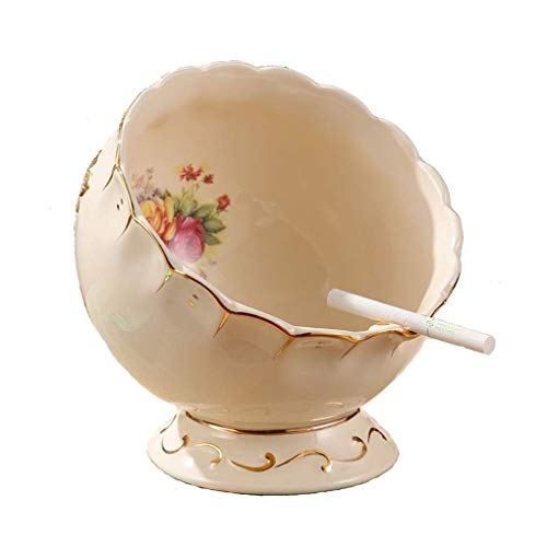 JKCKHA Cenicero Europea Cenicero de la Sala de la Personalidad Oblicua de cerámica Papelera de Almacenamiento de Escritorio Tazón Creativo Mesa de decoración de la joyería (Color: Blanco, Tamaño: F)