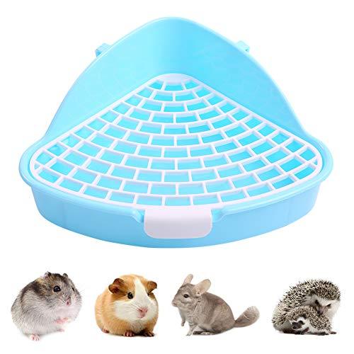 Kuoser Haustiertoilette für kleine Tiere mit Haken, dreieckiges Anti-Spray kleines Tablett Eck-Töpfchentraining für Hamster, Chinchilla, Meerschweinchen, Kaninchen, Frettchen, Käfig