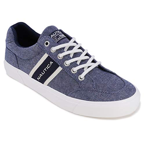 Nautica Men's Lace-Up Boat Shoe, Casual Loafer, Fashion Sneaker, Low Top Active-Hull-Blue Knit Navy-7.5