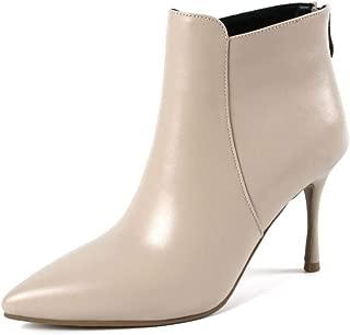 Nine Seven Genuine Leather Women's Pointed Toe High Stiletto Heel Back Zip Handmade Graceful Dress Ankle Boots