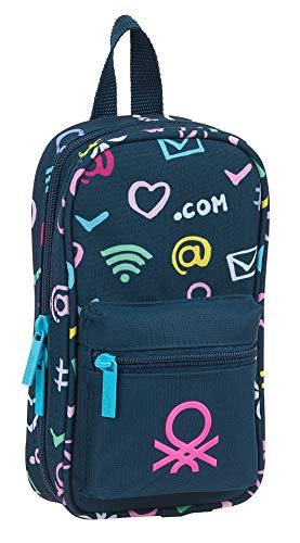 Safta 412151747 Plumier mochila 4 estuches llenos, 33 piezas, escolar UCB Benetton, Azul Marino/Multicolor