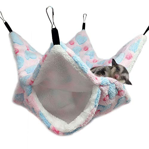 Oncpcare Hamaca pequeña jaula para mascotas, hamaca de azucarero con literas, accesorios de jaula de conejillo de indias, hamaca caliente para loros, ardilla, hámster, rata, dormir