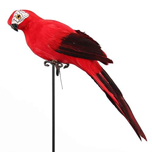 Adorno Jardín Figura Exterior Árbol Decoración Animal Realista Birds Realista Loro Césped Imitación (Zafiro) - Rojo, Free Size