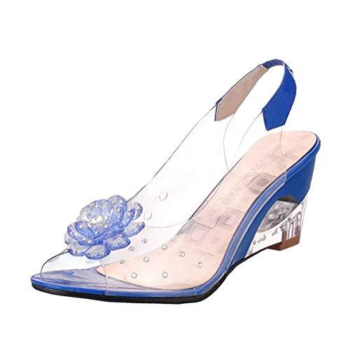 Minetom Sandalen Damen Sommer Keilabsatz Strand Peep Toe Gummi Durchsichtige Sommerschuhe Outdoor Sandaletten Frauen Blume Schuhe Blau 36 EU